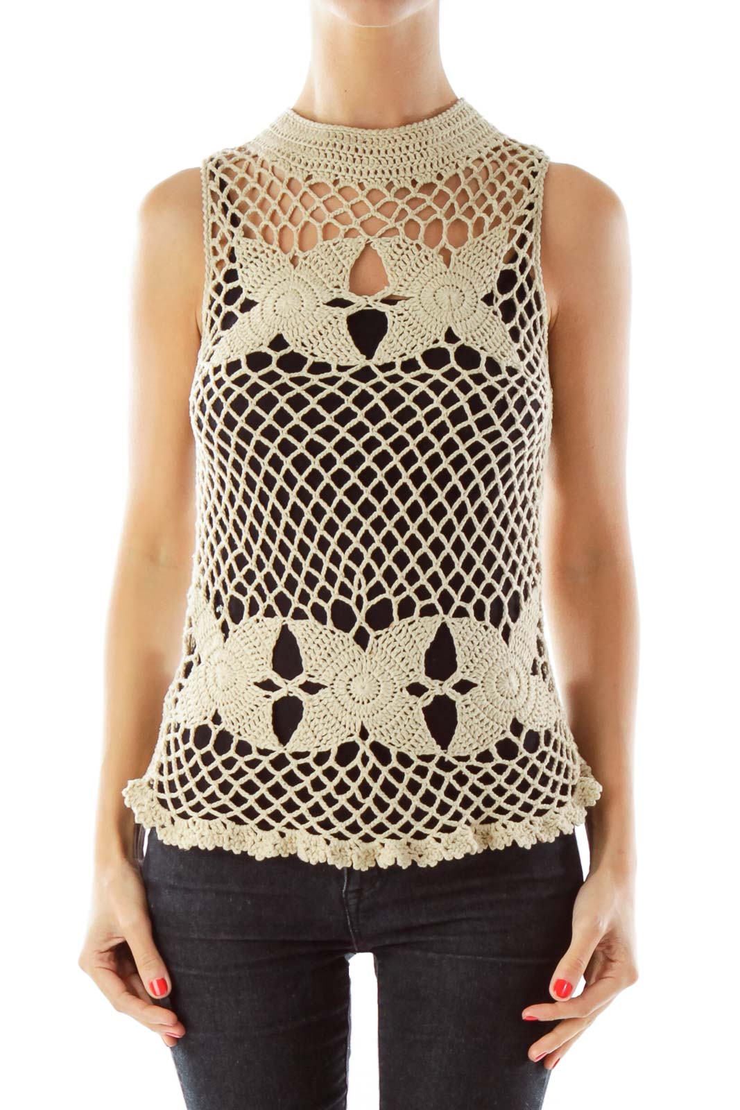 Beige Crocheted Tank Top