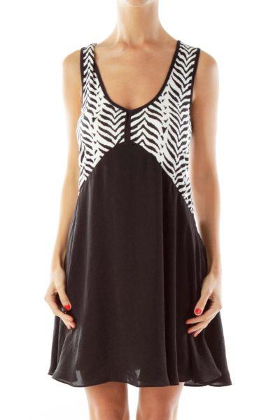 Black & White Zebra Print Flared Day Dress
