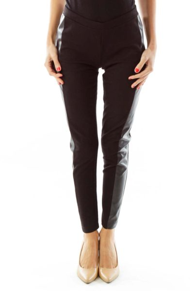 Black Faux-Leather Trim Leggings