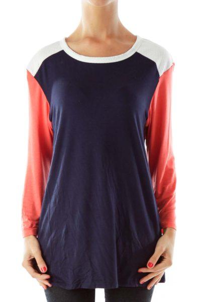 Navy & Coral Color Block Shirt