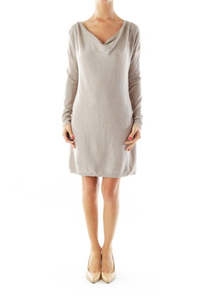 Taupe Fitted Sparkle Knit Dress