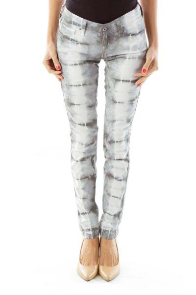 White Gray Tie Dye  Jeans