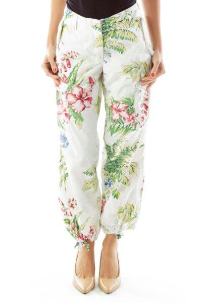 White Multicolor Floral Pants