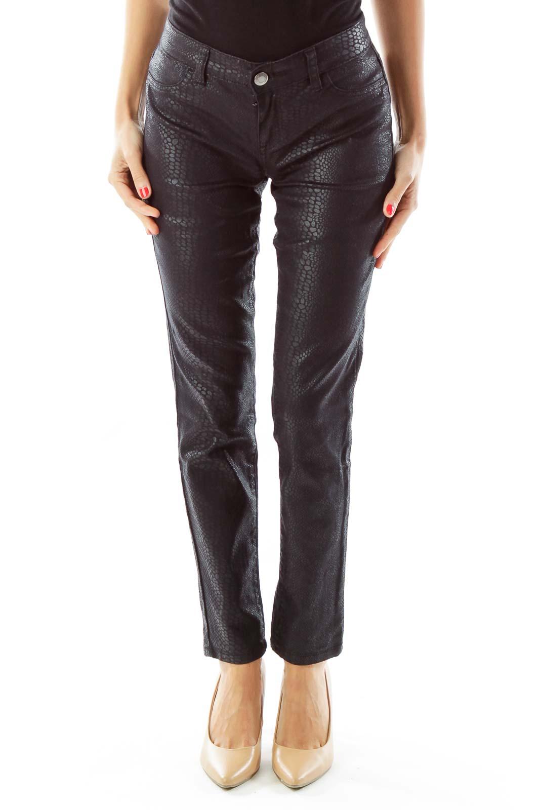 Black Alligator Print Slim Fit Jeans