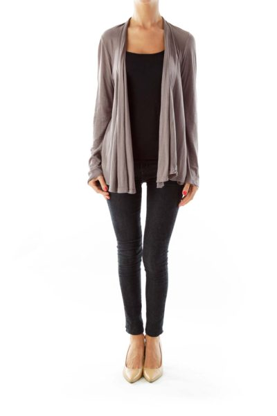Gray/Mauve Open Cardigan