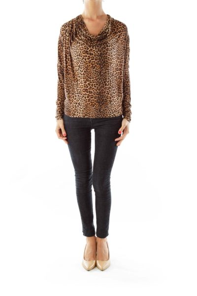 Brown & Black Cheetah Print Top