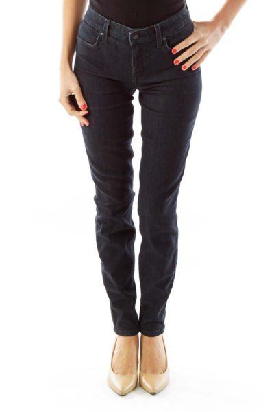 Navy Skinny Ankle-Fly Zipper Jeans