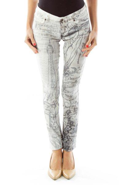 White Gray French Print Skinny Jeans