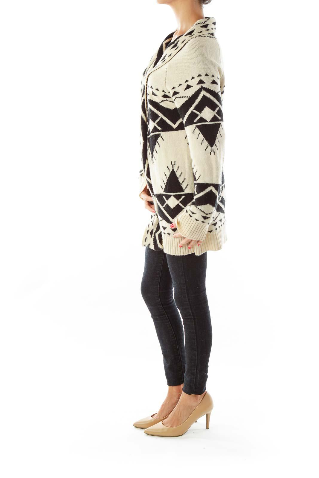 Beige Black Geometric Sweater