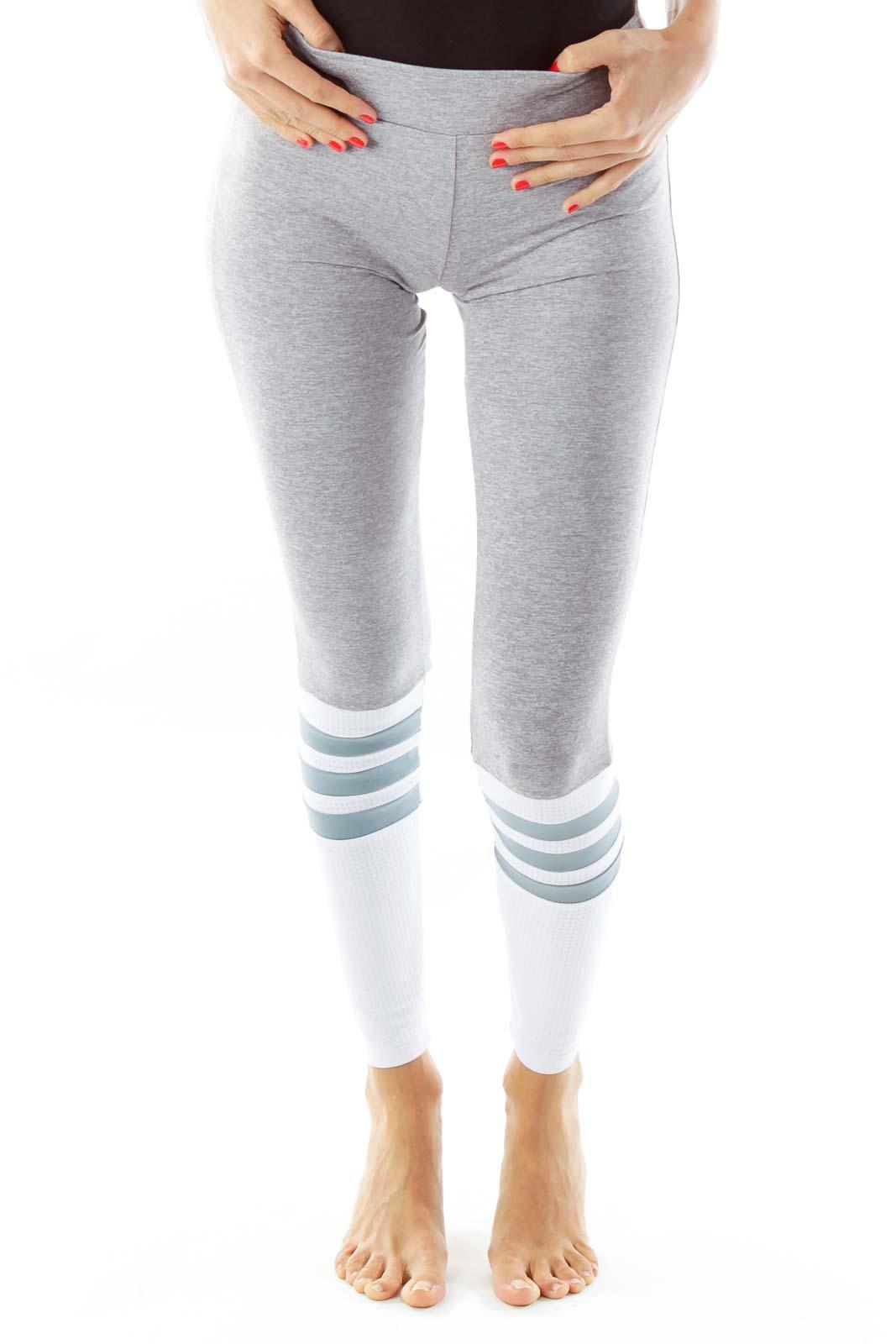 Gray White Striped Knee Yoga Pants
