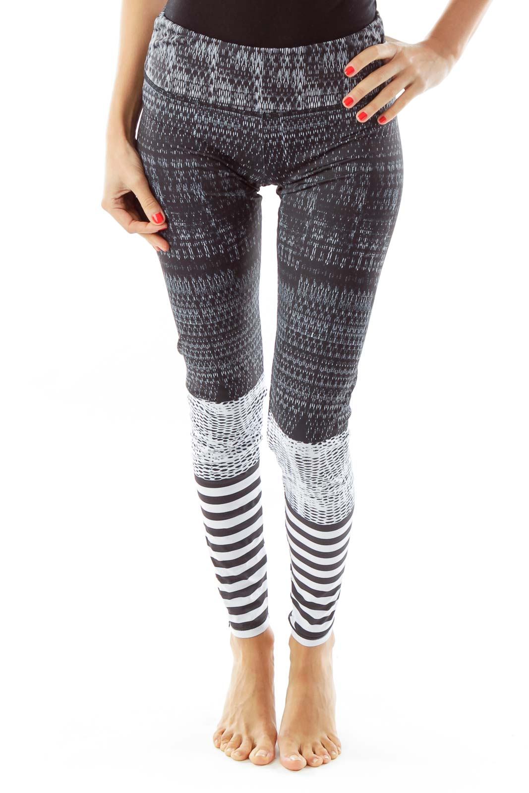 d30c9688a1 Shop Black White Striped Yoga Pants clothing and handbags at ...