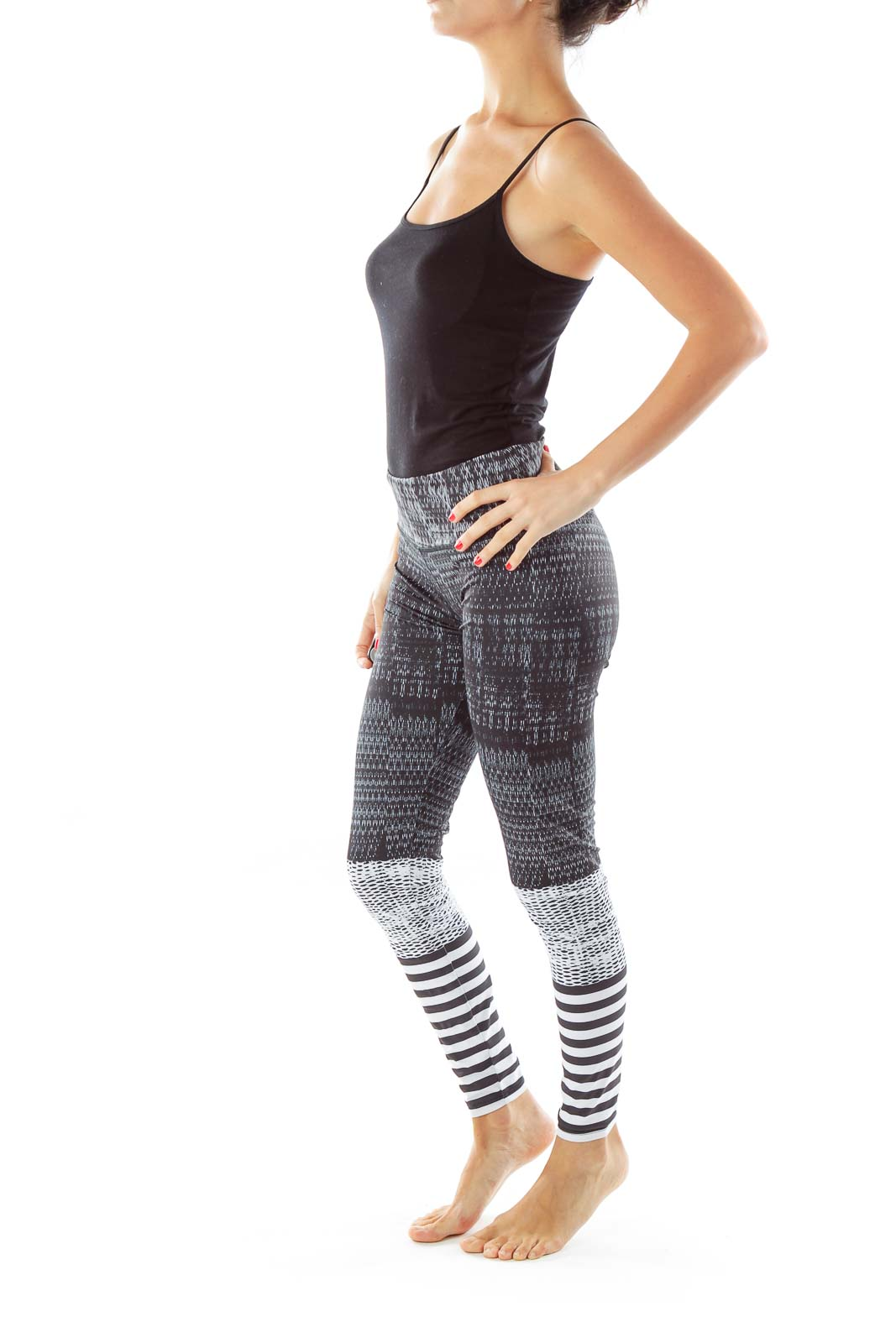 Black White Striped Yoga Pants