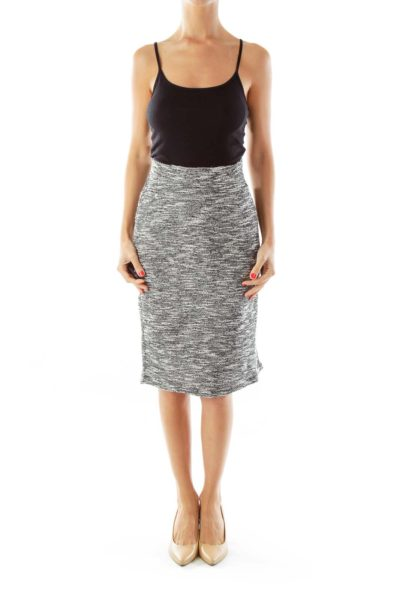 Black White Knit Mottled Pencil Skirt