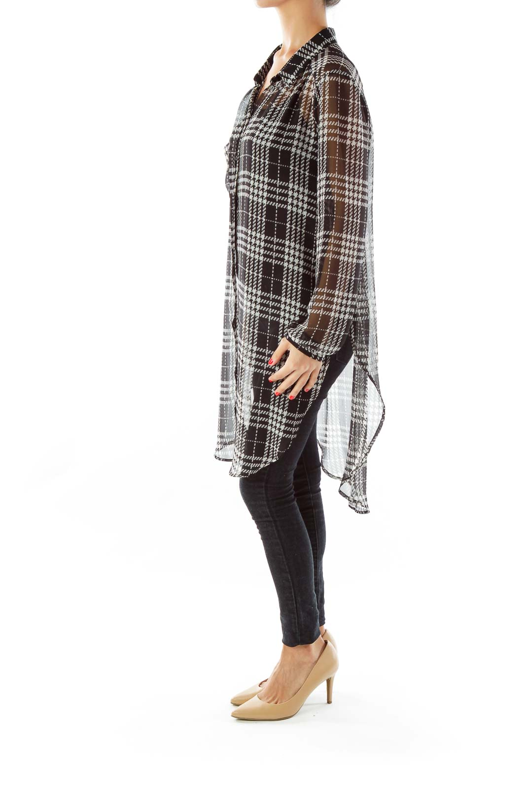 Black White Loose Houndstooth Blouse