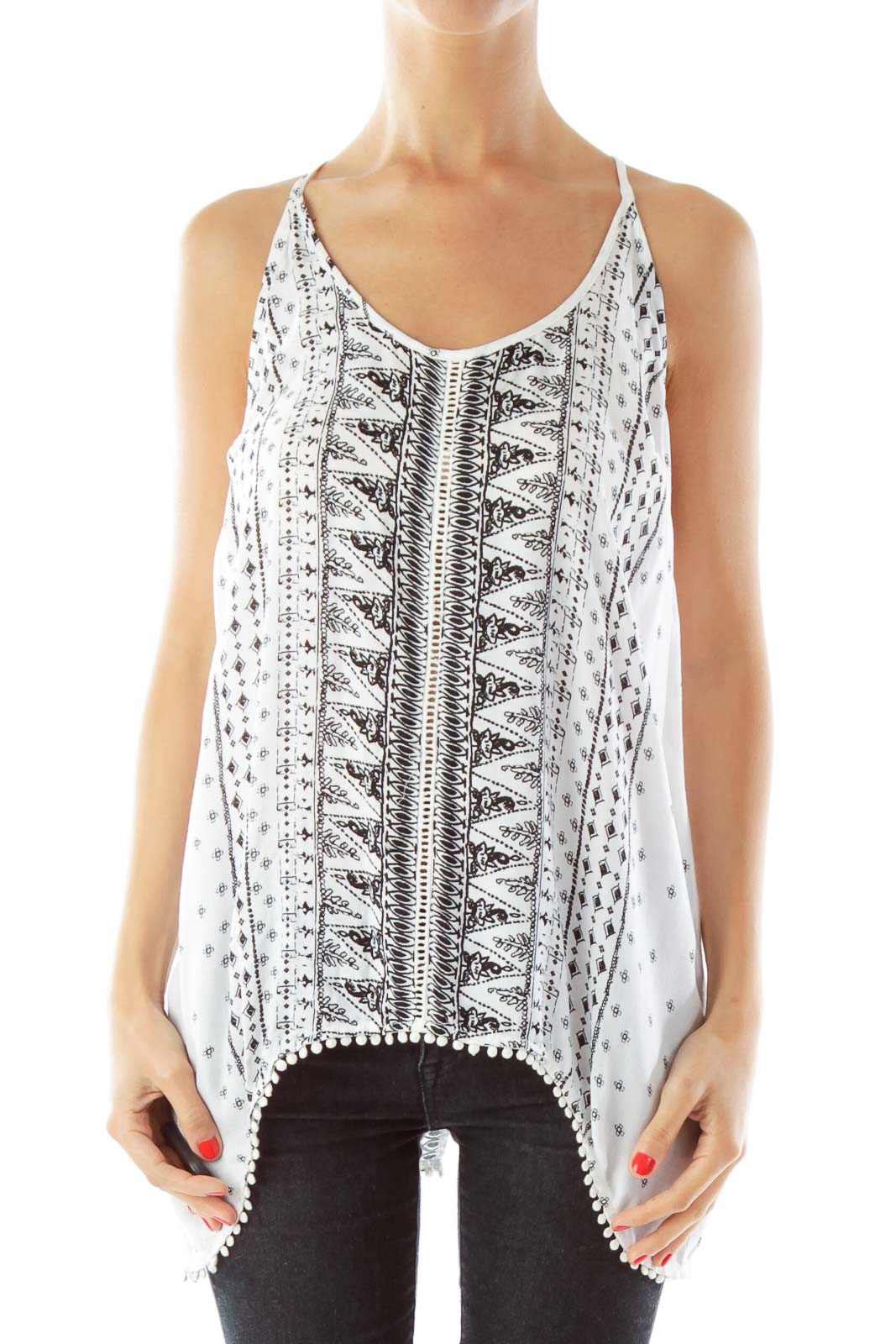 Black White Open Back Tank Top