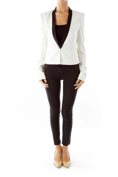 Black White Fitted Blazer