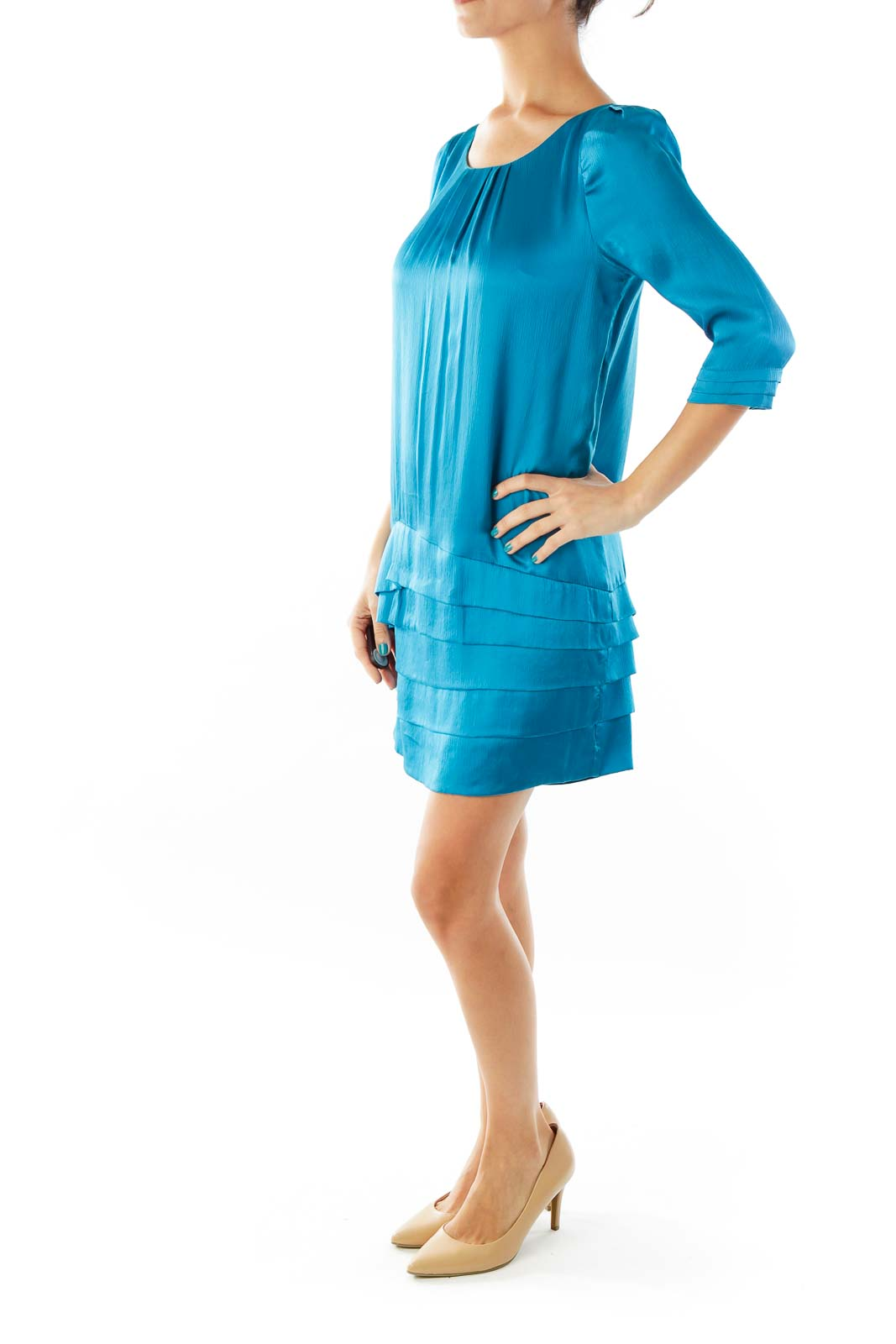 Turquoise Silk Cocktail Dress