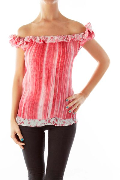 Pink Striped Sleeveless Blouse