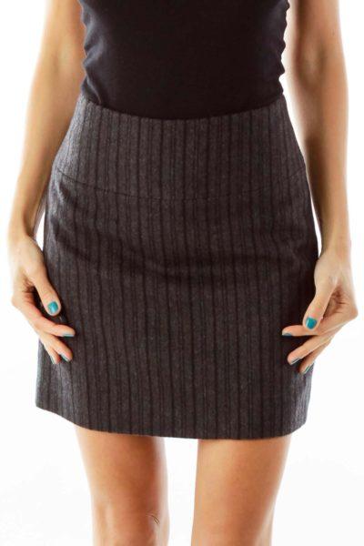 Gray Pinstripe Wool Skirt