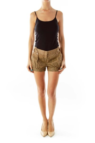 Brown Print Shorts