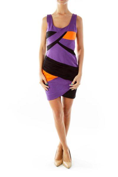 Black & Purple Fitted Dress