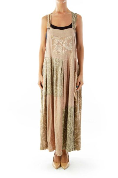 Brown Pink Embroidered Day Dress