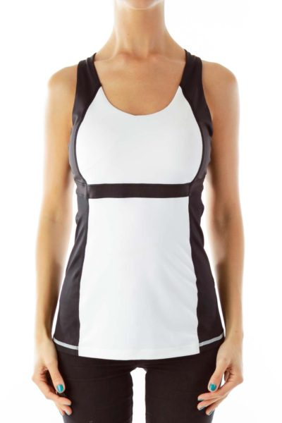 Black White Fitted Yoga Tank Top