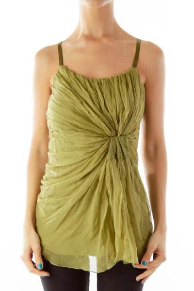 Olive Green Chiffon Tank Top