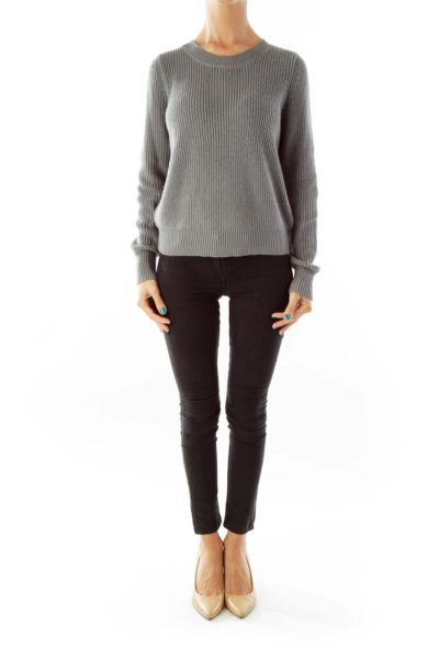 Gray Knit Back-Zipper Sweater