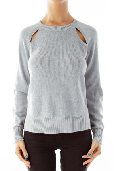 Gray Knit Sparkle Sweater