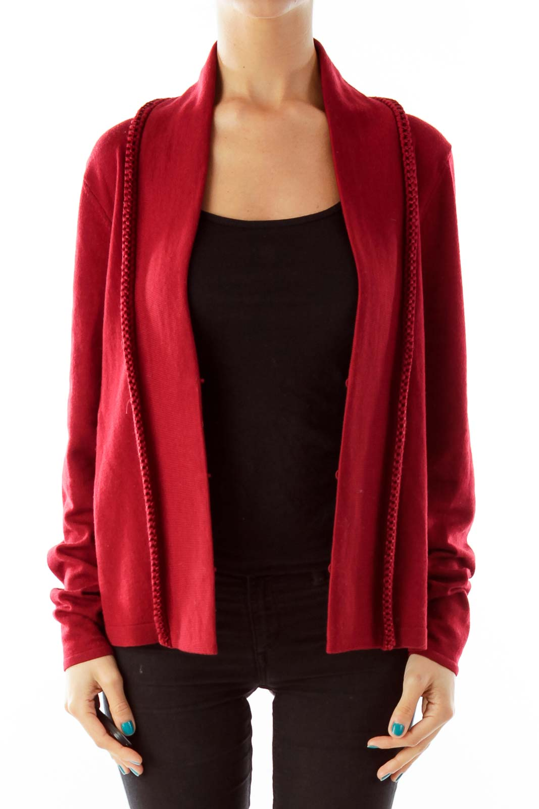 Red Merino Wool Cardigan [M] - SilkRoll