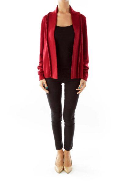 Red Merino Wool Cardigan
