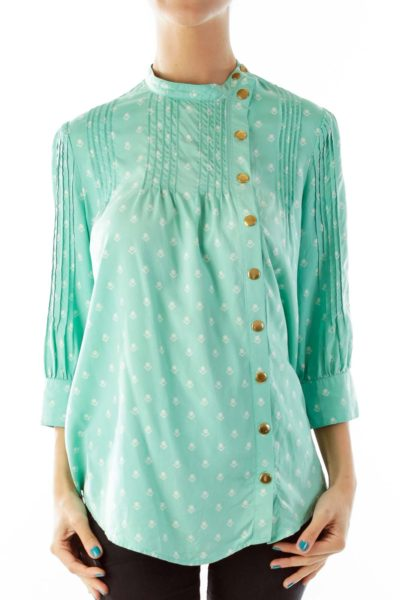 Mint Print Pleated Blouse