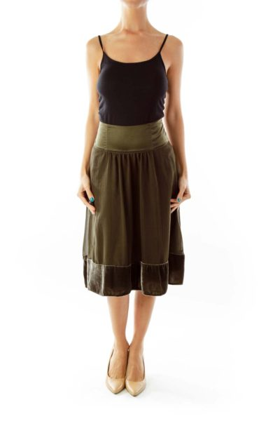 Army Green Flared Skirt w/ Velvet Detail