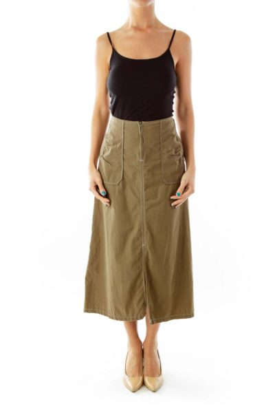 Army Green A-Line Skirt