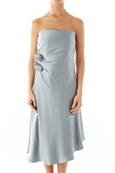 Blue Silver Strapless Dress w/ Flower Detail