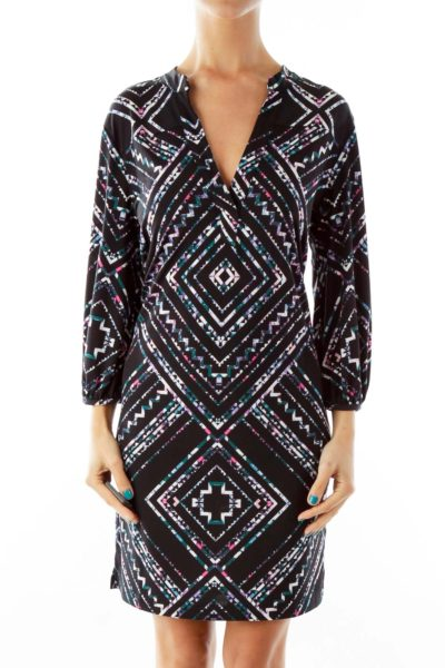 Black Geometric Print Work Dress