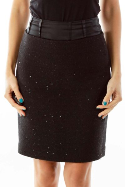 Black Sparkle Pencil Skirt