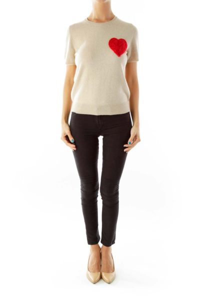 Beige Cashmere Top with Red Heart Detail
