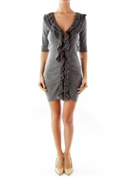 Gray Ruffled Fitted Dress
