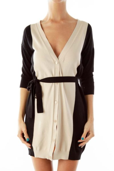 Black Beige Belted Knit Dress