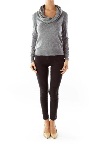 Gray Fitted Knit Top w/ Loose Neck