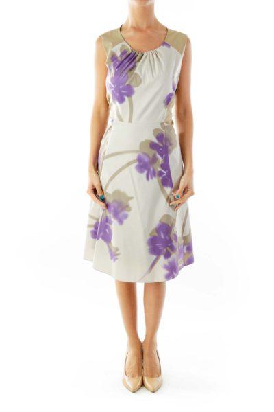 Beige Purple Floral Print Sleeveless Dress
