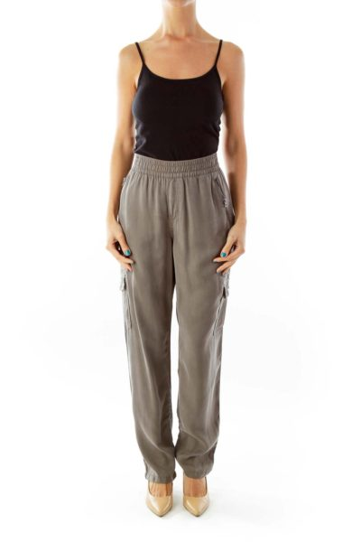 Gray Zipper Pocket Tapered Pants