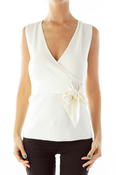 Cream Knit Tank Top with Bow
