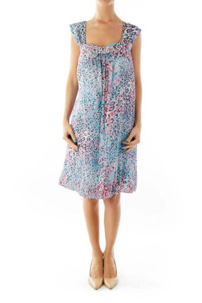 Blue Pink Cheetah Print Day Dress