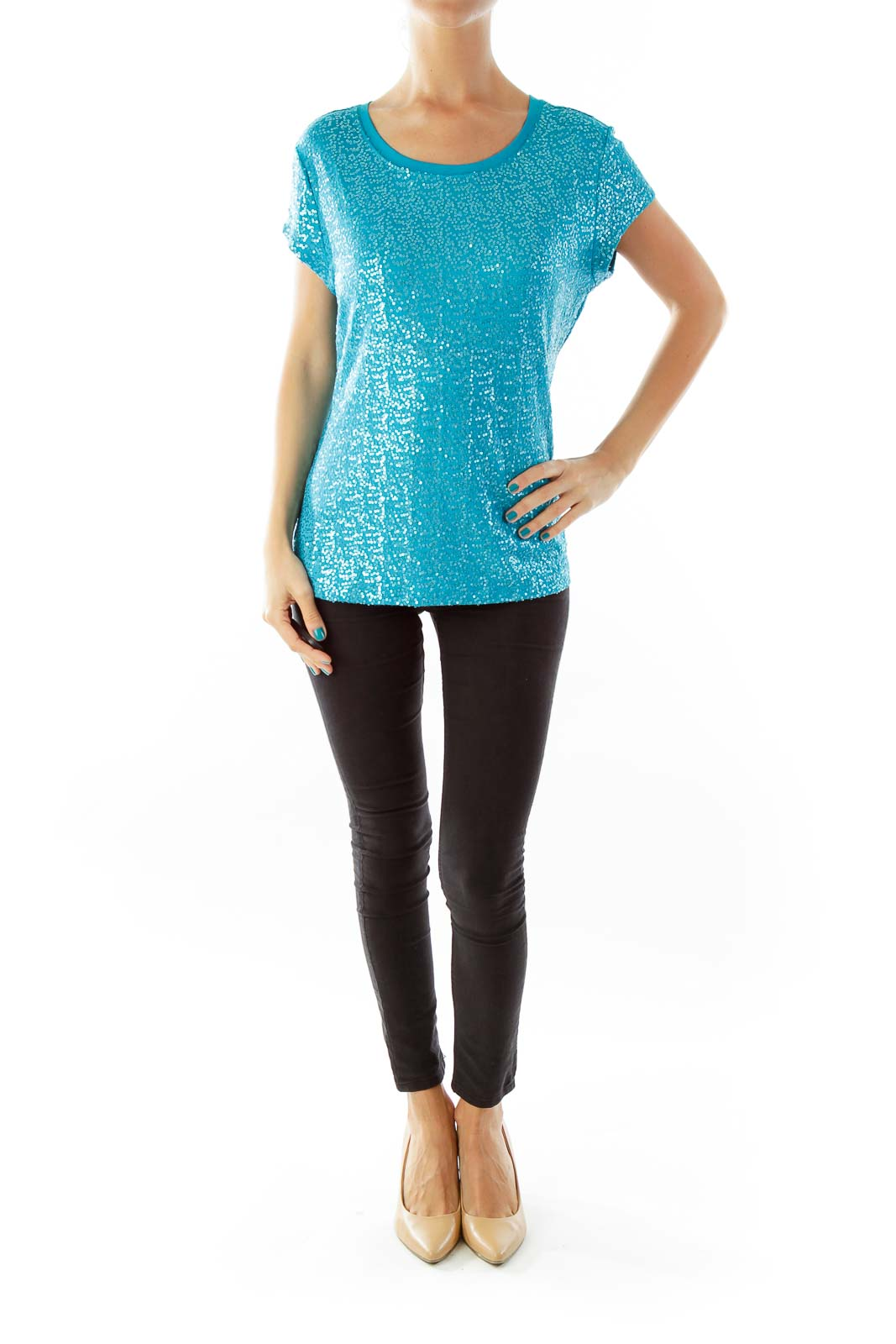 Turquoise Sequined T-Shirt