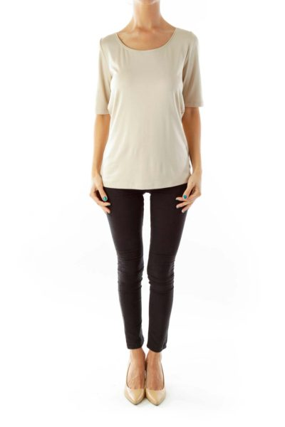 Beige Silk T-Shirt