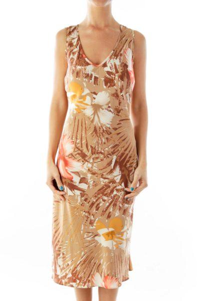 Brown Beige Floral Day Dress