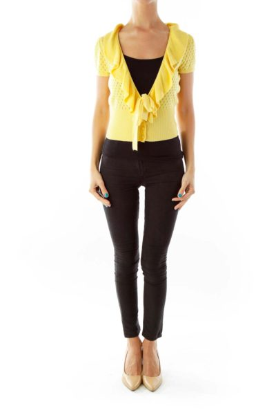Yellow Knit Belted Top